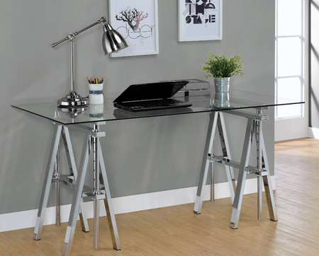 Adjustable Glass Desk