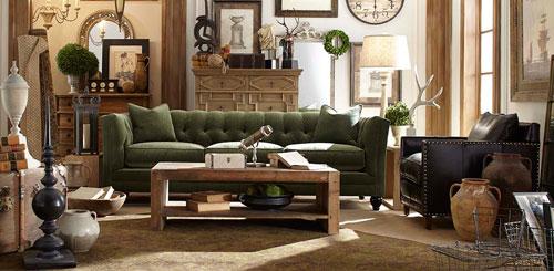 Stevens Sofa in Green Velvet