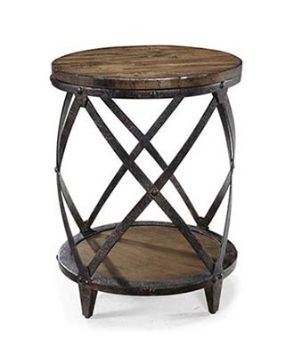 barrell round end table